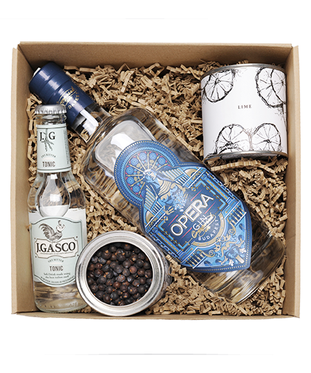 Opera Gin Box borókabogyóval és lime-mal kofer
