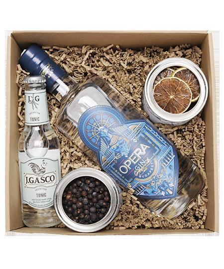 Opera Gin Box borókabogyóval és lime-mal